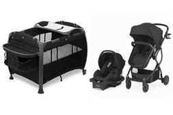 Baby Black Combo Set Stroller with Car Seat Infant Playard N