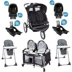 Baby Combo Set Double Jogger Stroller 2 Car Seats 2 Chairs T