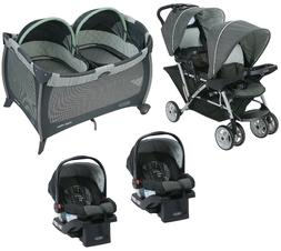 Baby Double Stroller with 2 Matching Car Seats Combo Set Pla