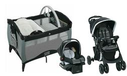 Baby Travel System with Car Seat Newborn Playard Crib Combo