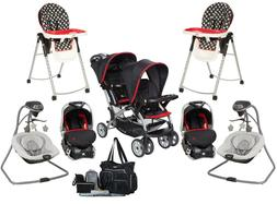 Baby Twins Combo Double Jogger Stroller with 2 Car Seats 2 C
