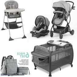 Grey Travel System Combo Set Stroller Car Seat High Chair Pl
