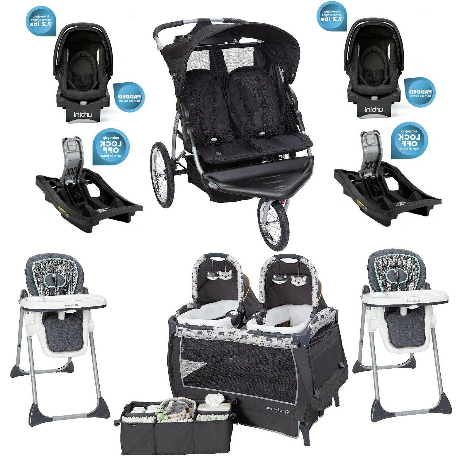 Baby Boy Double Stroller 2 Car Seats Two High Chairs Playard