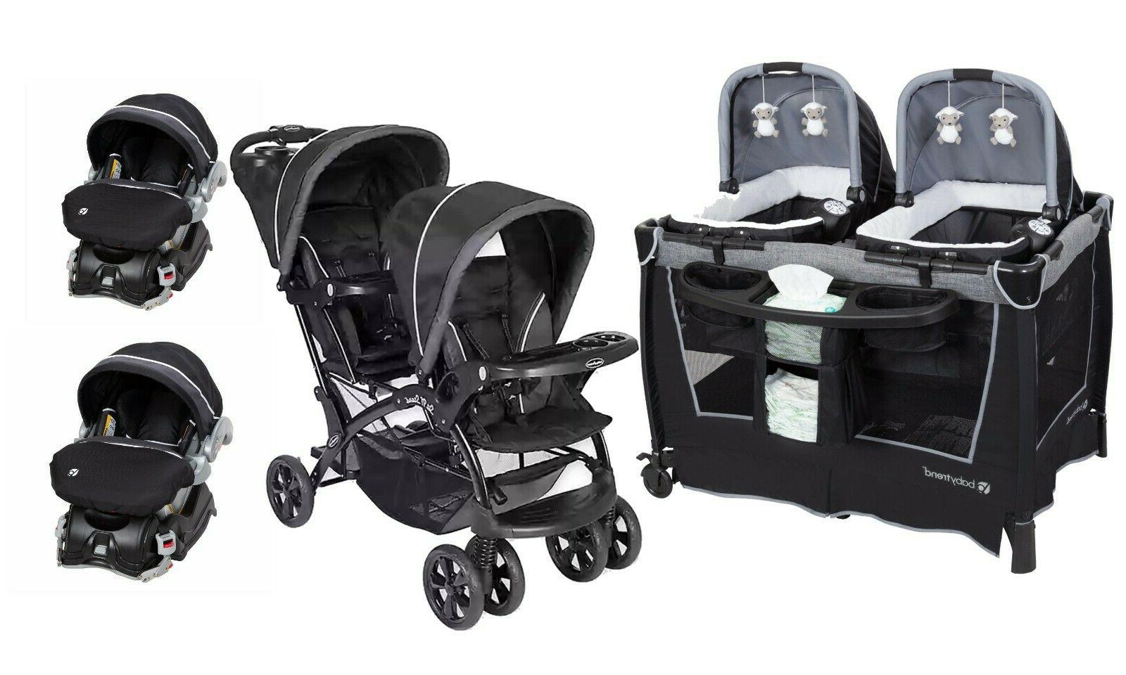 baby double stroller with 2 infant car