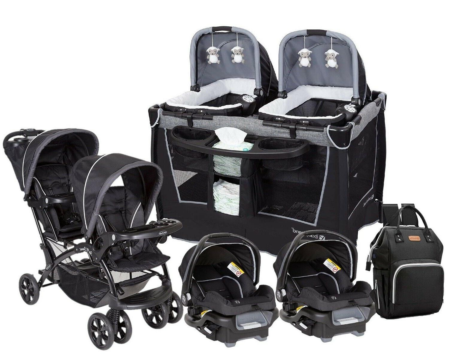 baby stroller with 2 car seats twins