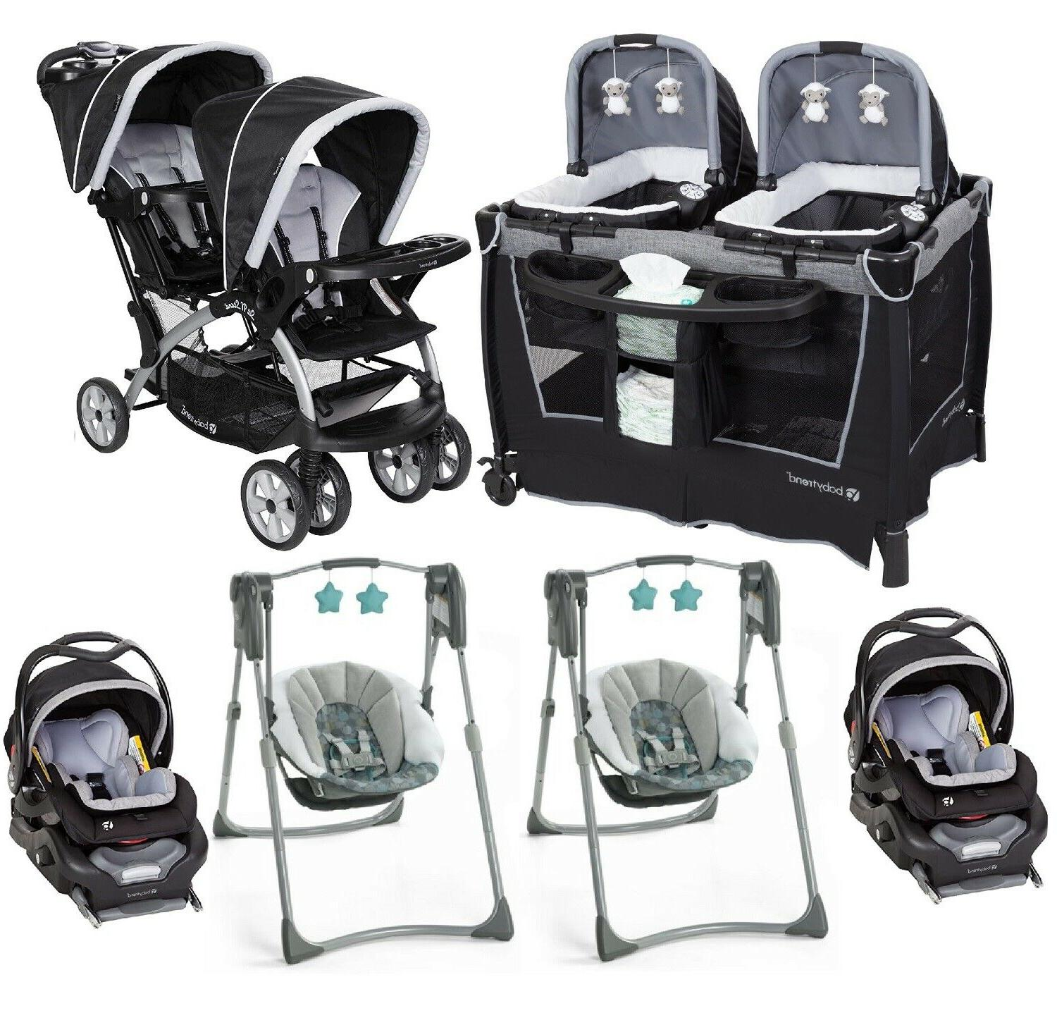 baby twin double stroller with 2 car