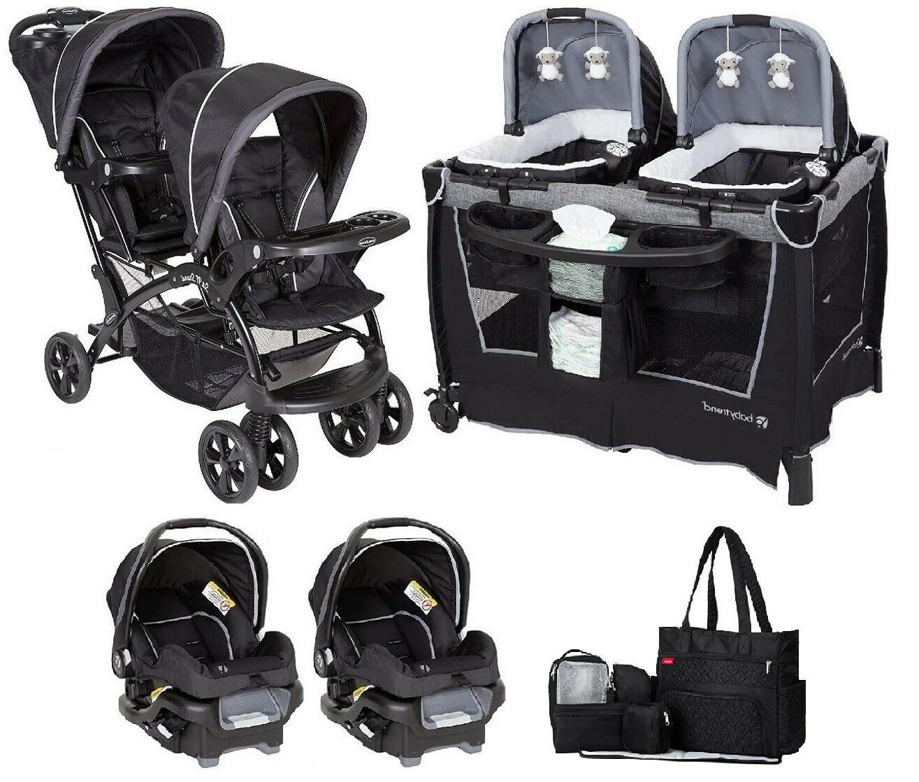 infant combo double stroller with 2 car