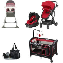 Red Combo Set of Stroller Car Seat Playard High Chair Diaper