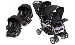 Double Baby Stroller with 2 Infant Car Seat Combo Optic Viol