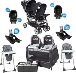 Twins Double Stroller Combo Set 2 Car Seats Playard Two Base